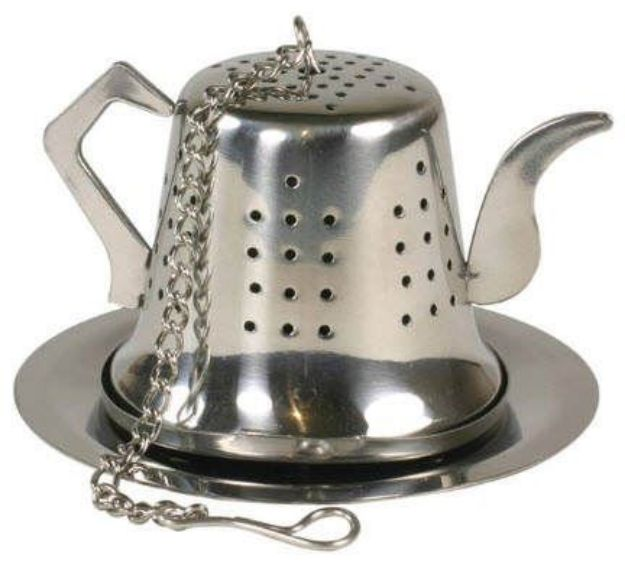 "Tea Post Stainless Steel Tea Infuser with Matching Tray (1-1/2"")"