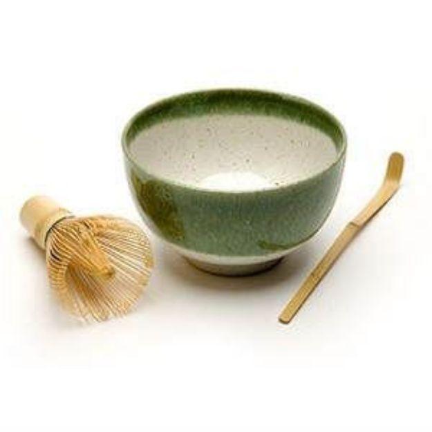 Matcha Bowl, Spoon & Whisk Set, Green