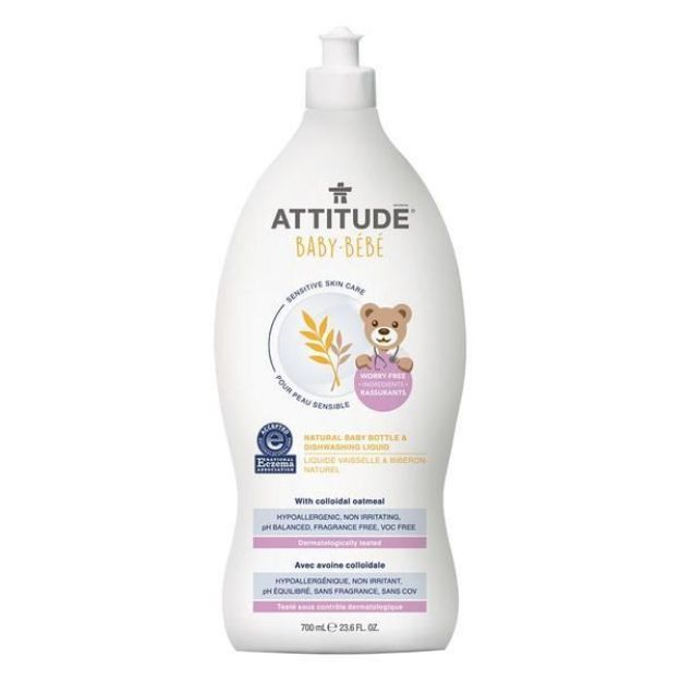 Bottle & Dish Washing Liquid - Baby - Fragrance Free (23.7 fl. oz., Attitude)